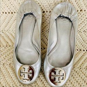 Tory Burch Silver Reva Ballet Flats Size 8